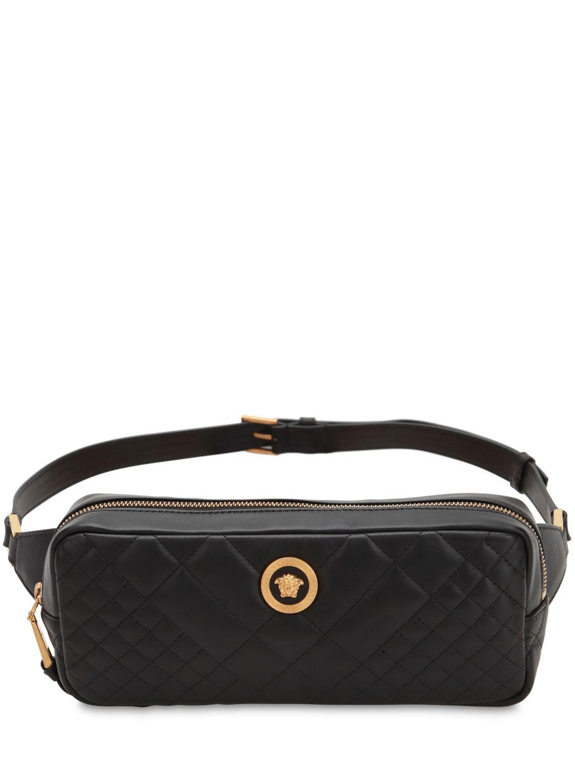 19df2c0ad8 Versace Icon Quilted Leather Belt Bag in Black - Lyst