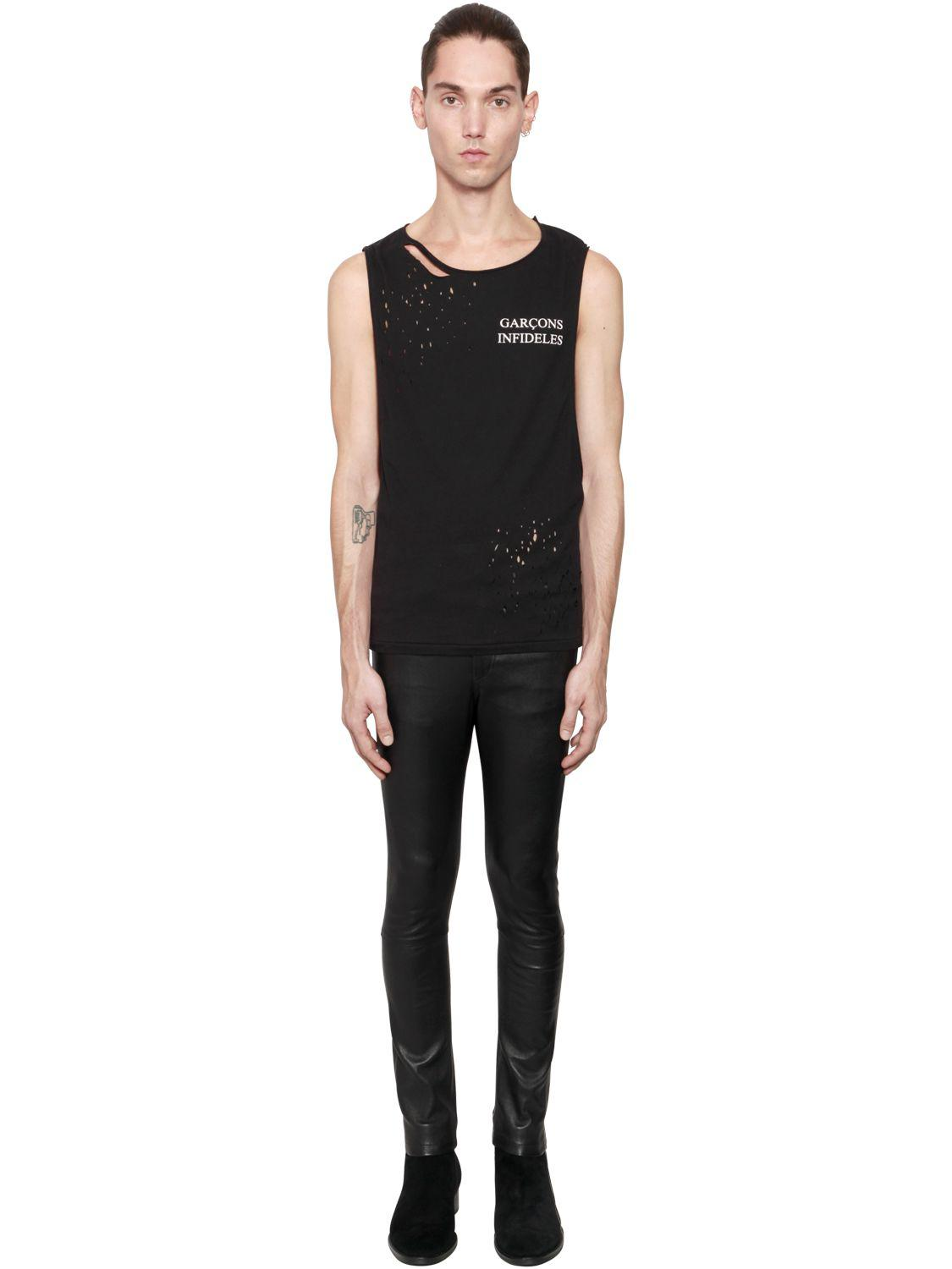 Garçons Infideles Thank You Ripped Jersey Tank Top in Black for Men