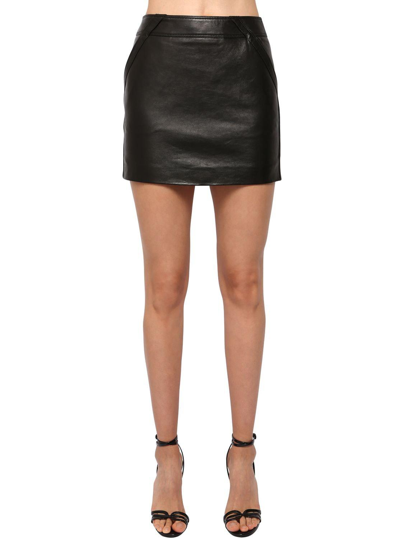 a9e8ed39490 Saint Laurent High Waist Leather Mini Skirt in Black - Lyst