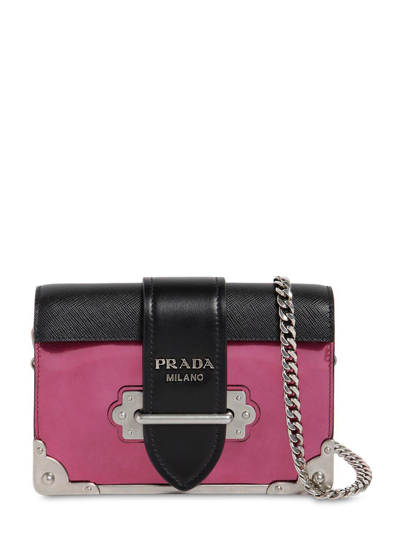 7df0f663cb98 Lyst - Prada Small Cahier Leather Shoulder Bag in Black