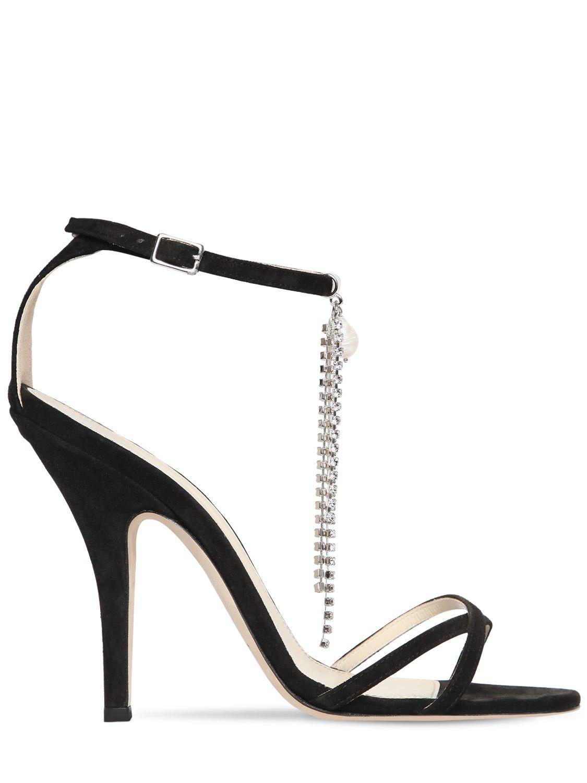 8d0e075576bc Lyst - Magda Butrym 110mm Ireland Suede Sandals W  Crystals in Black