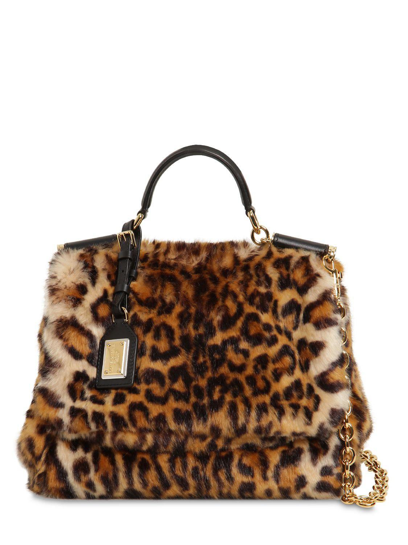 Lyst - Dolce   Gabbana Sicily Leopard Print Faux Fur Bag in Brown 7e9ef554b1b91