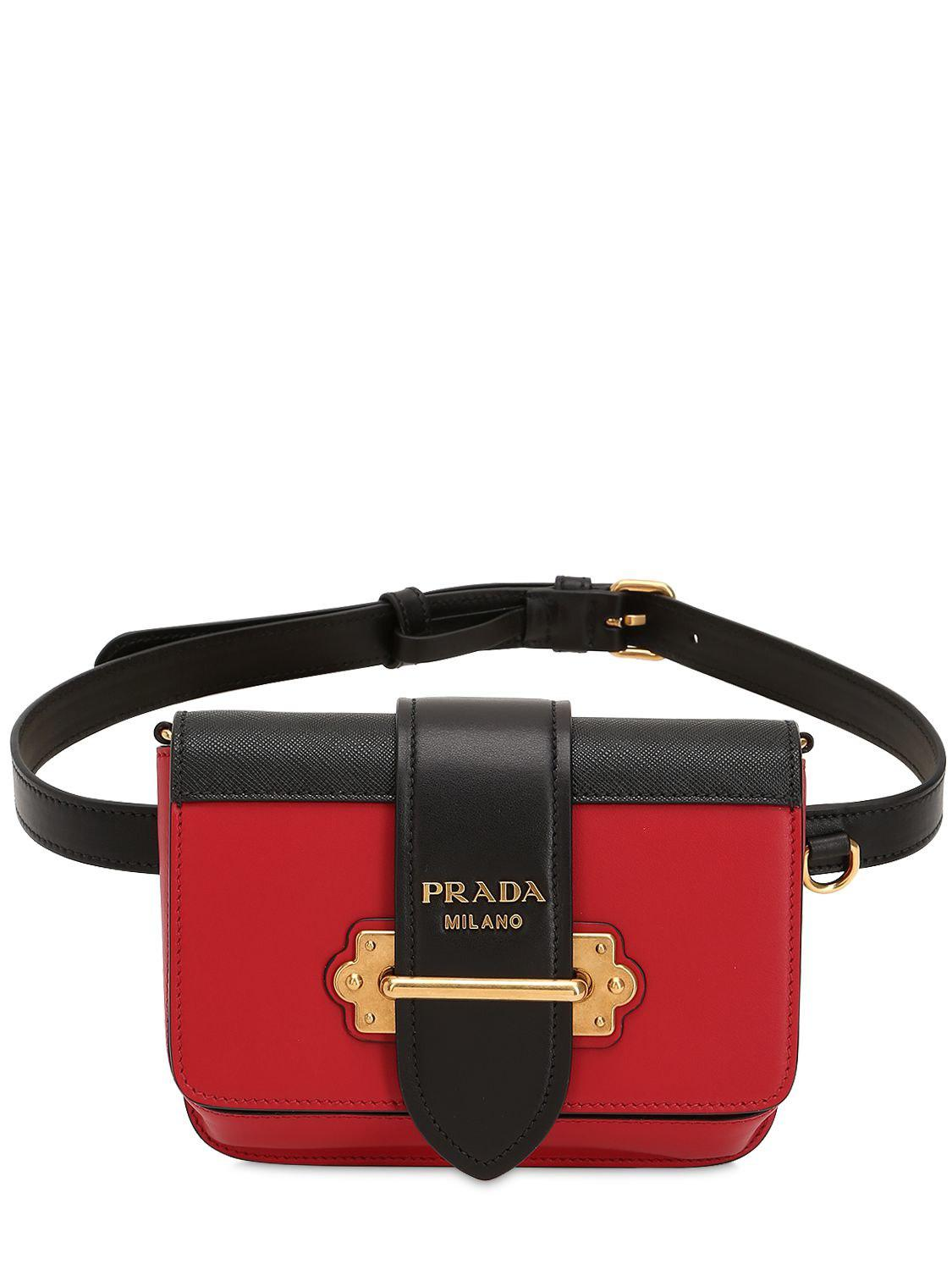 ea85a534bf5686 Lyst - Prada Cahier Saffiano Leather Belt Pack in Red
