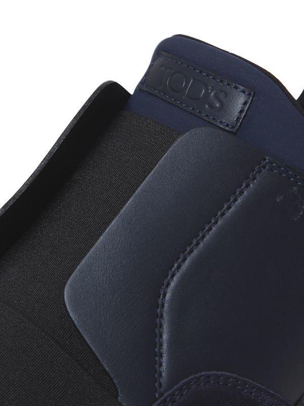 Tod's 20mm Suede & Neoprene Slip-on Sneakers in Black/Navy (Black)