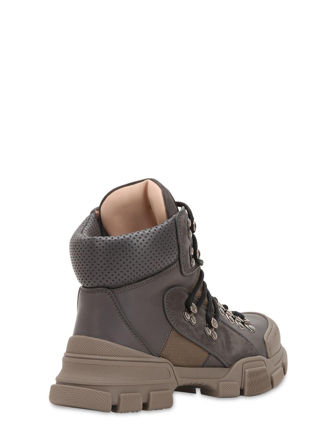 a66401df5cf Lyst - Gucci 40mm Flashtrek Leather Hiking Boots in Gray