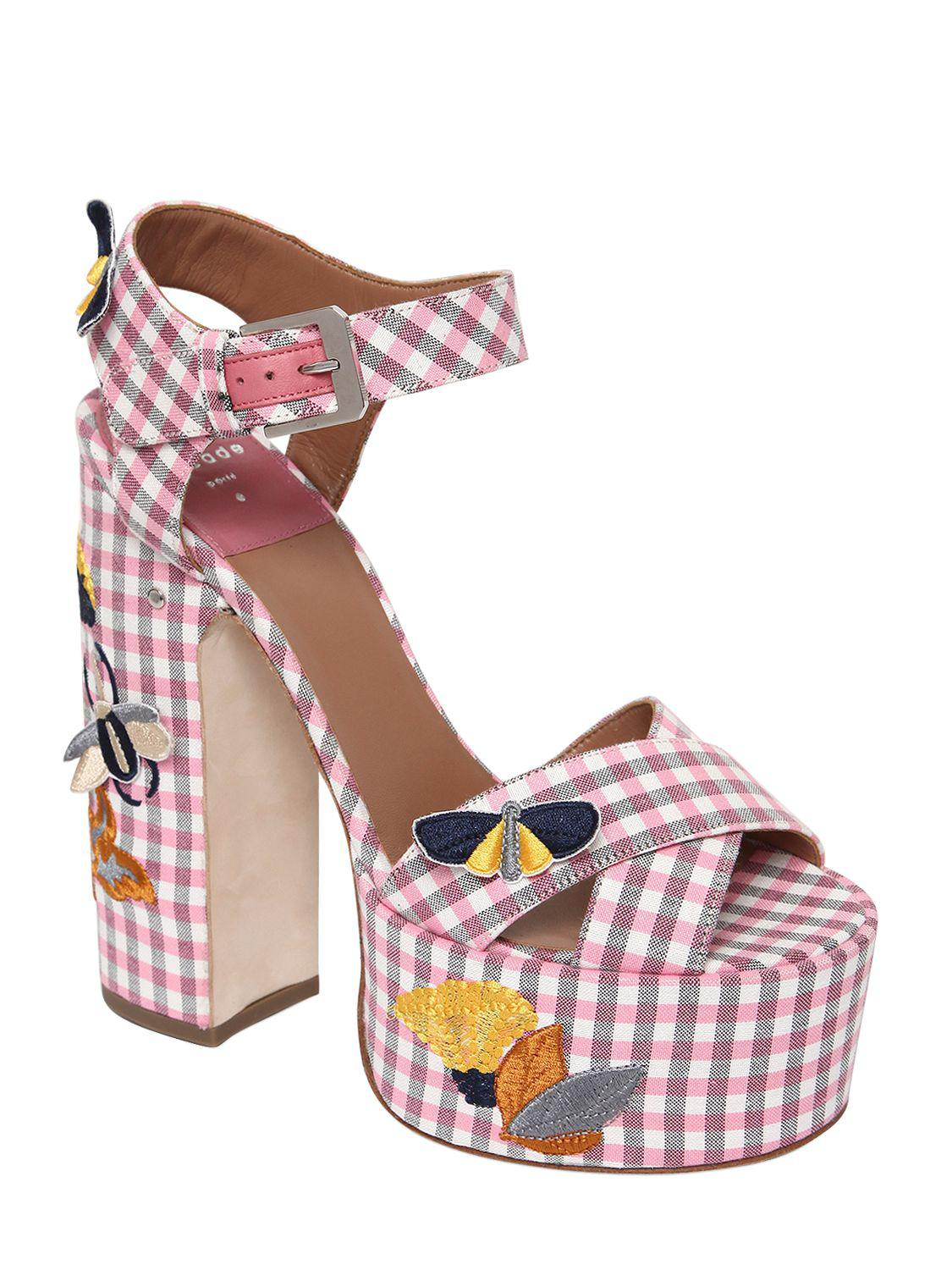 LAURENCE DACADE 150MM ROSELLA GINGHAM COTTON SANDALS woSBoUtI0a