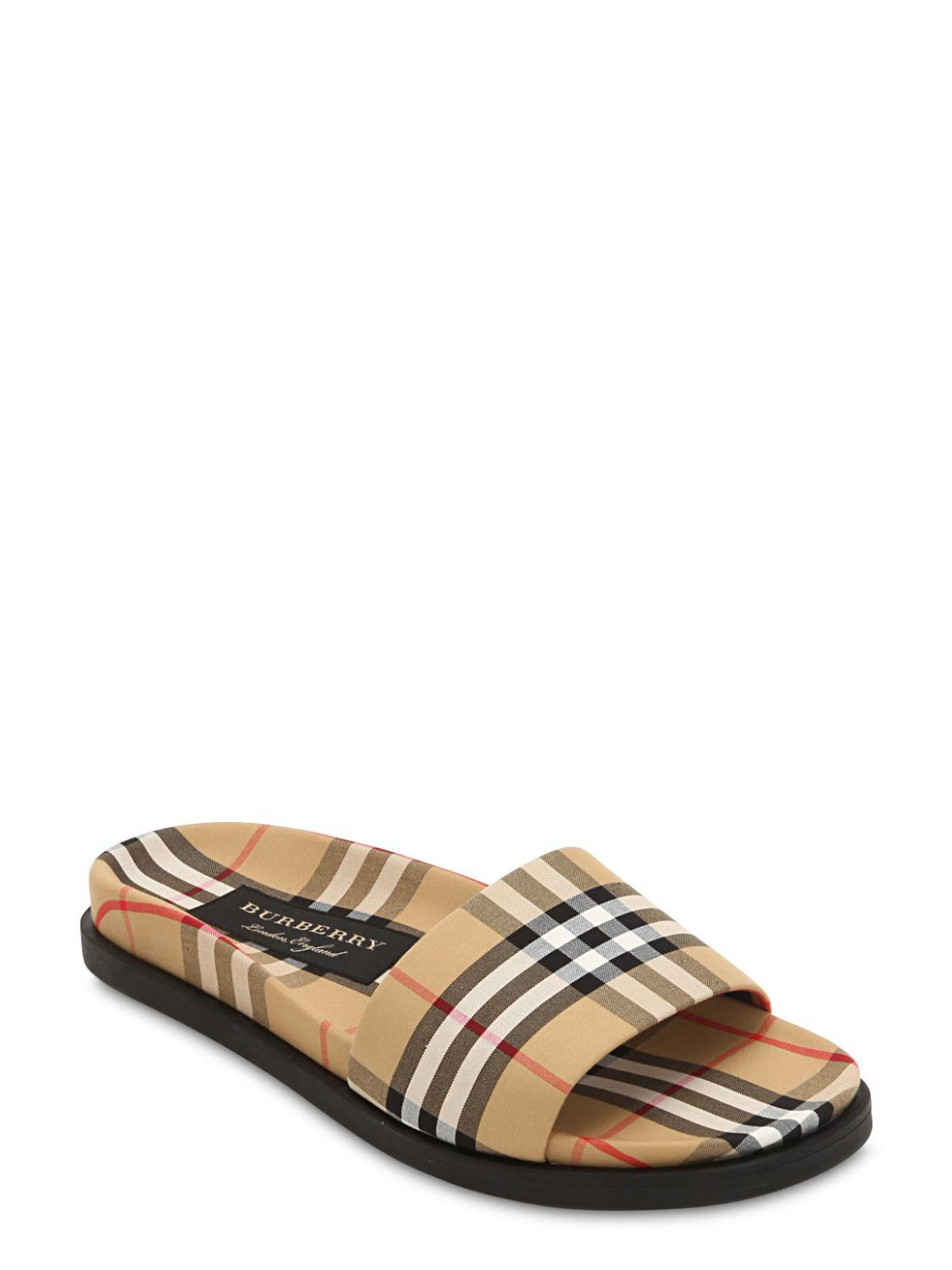 d8e779b051f8cd Burberry Beige Check Ashmore Slides for Men - Save 9% - Lyst