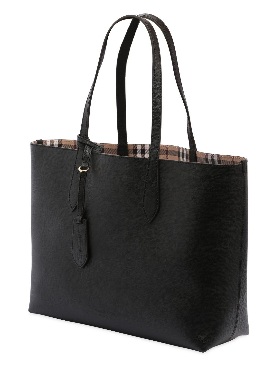 Burberry Leather Medium Reversible House Check Tote Bag in Black