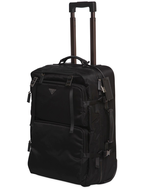 c32f93800e66 Prada - Black Multi Pockets Nylon 2-wheel Trolley for Men - Lyst. View  fullscreen