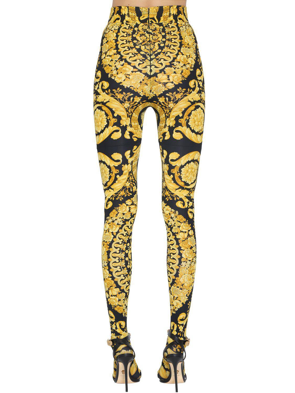 Versace Synthetic Baroque Print Lycra Leggings in Yellow