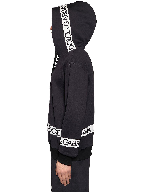 f44158141274 Lyst - Dolce   Gabbana Hooded Logo Tape Print Cotton Sweatshirt in ...