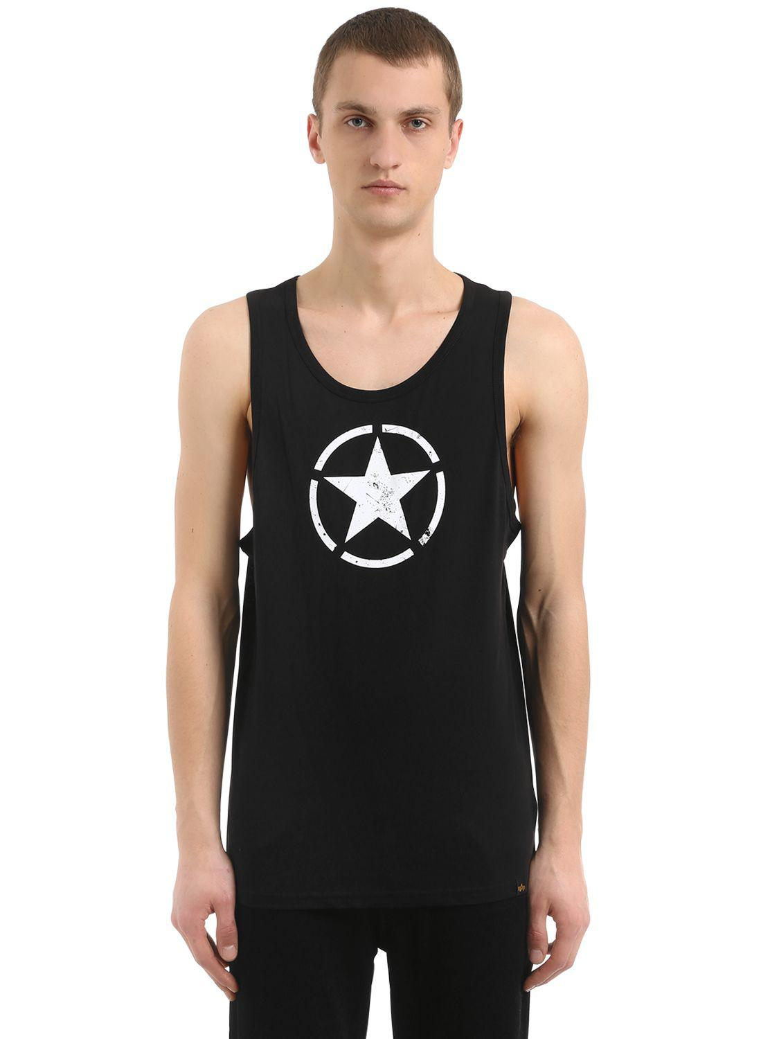 124349f572dc5a Alpha Industries Star Printed Cotton Jersey Tank Top in Black for ...