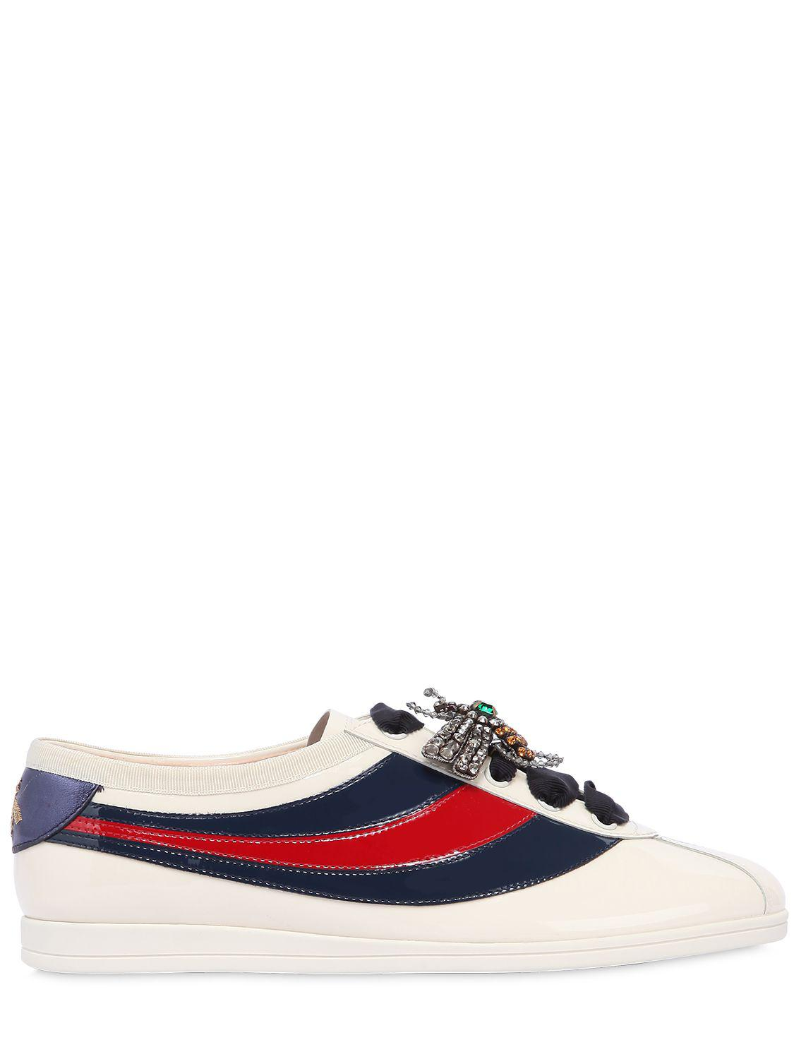 Falacer patent leather sneakers with Web - White Gucci JXMaSNax