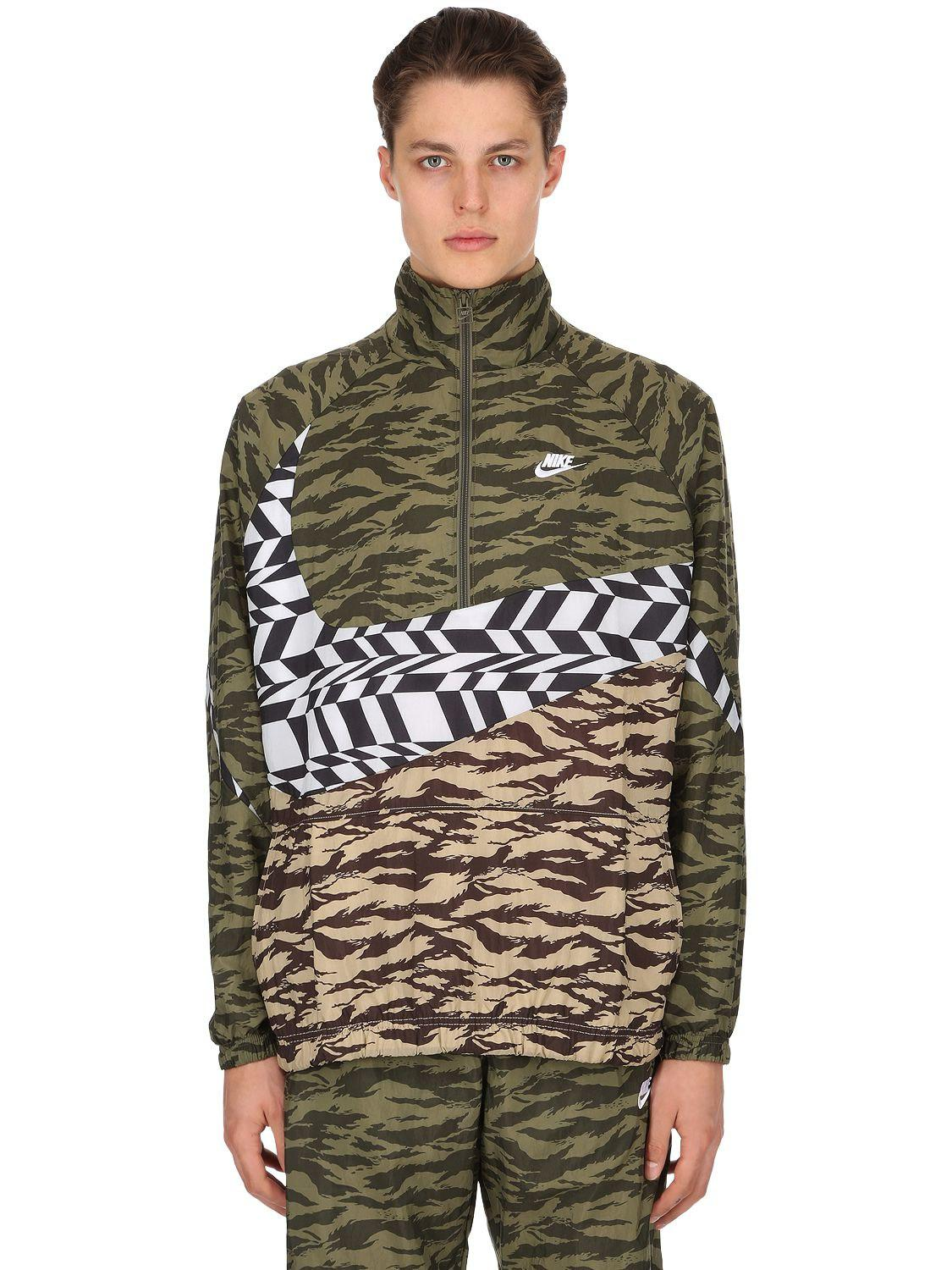 Nike Synthetic Swoosh Woven Packable Track Jacket in Army ...