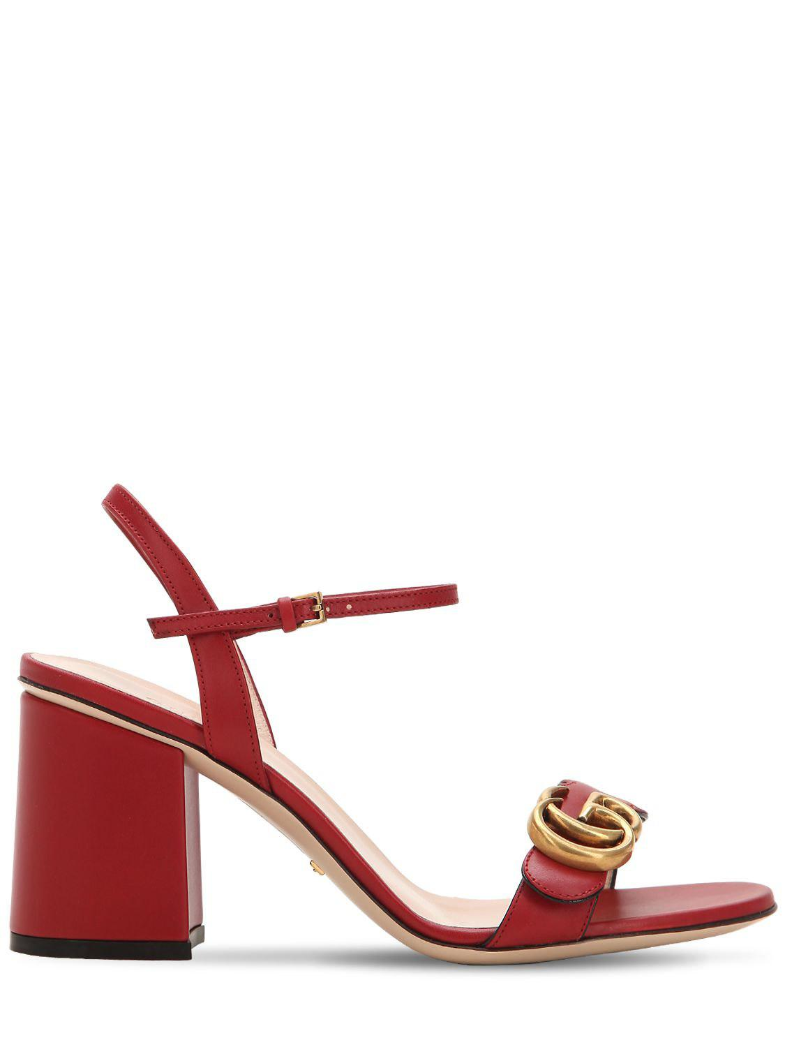 272dd6f84ff Lyst - Gucci 75mm Marmont Leather Sandals in Red - Save 16%