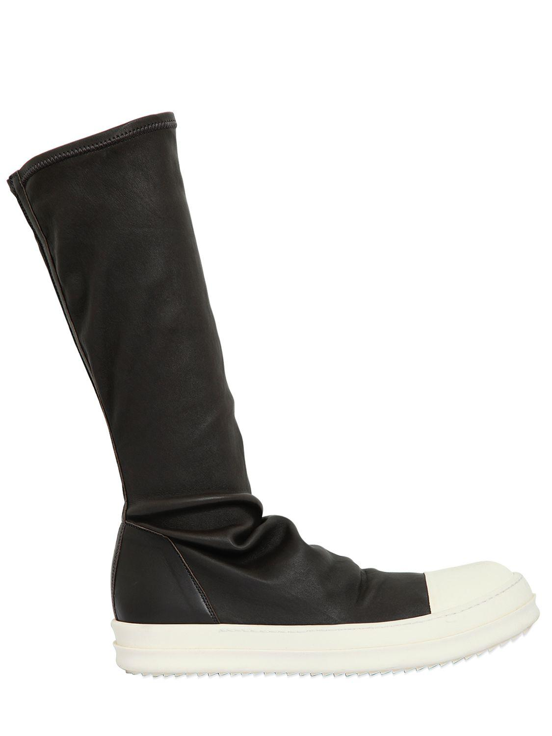 Rick Owens Stretch leather high top sneakers YfYTg