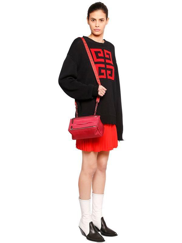 654ad75754 Givenchy Mini Pandora Nylon Bag W/ Logo Strap in Red - Lyst
