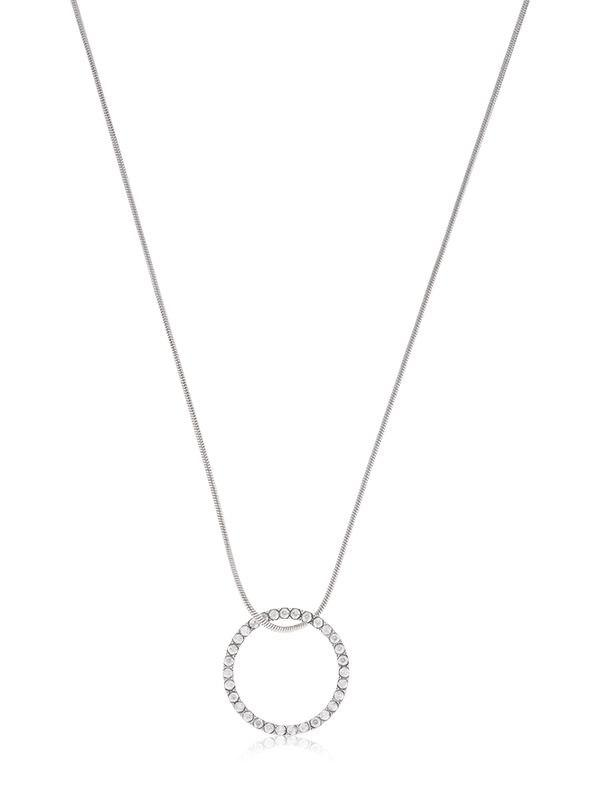 Isabel Marant Crystal Circle Pendant Necklace in Silver (Metallic)