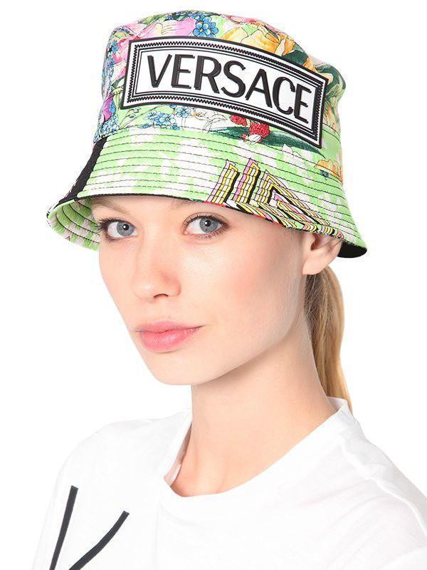 86937cc779fd1 Versace - Multicolor Logo Printed Silk Bucket Hat - Lyst. View fullscreen