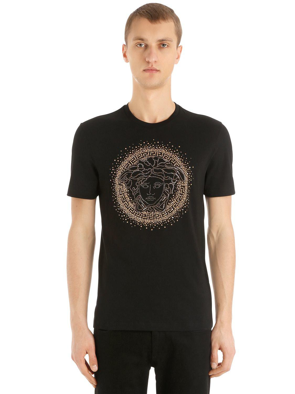 04ad689d Versace Swarovski & Studs Medusa Jersey T-shirt in Black for Men - Lyst