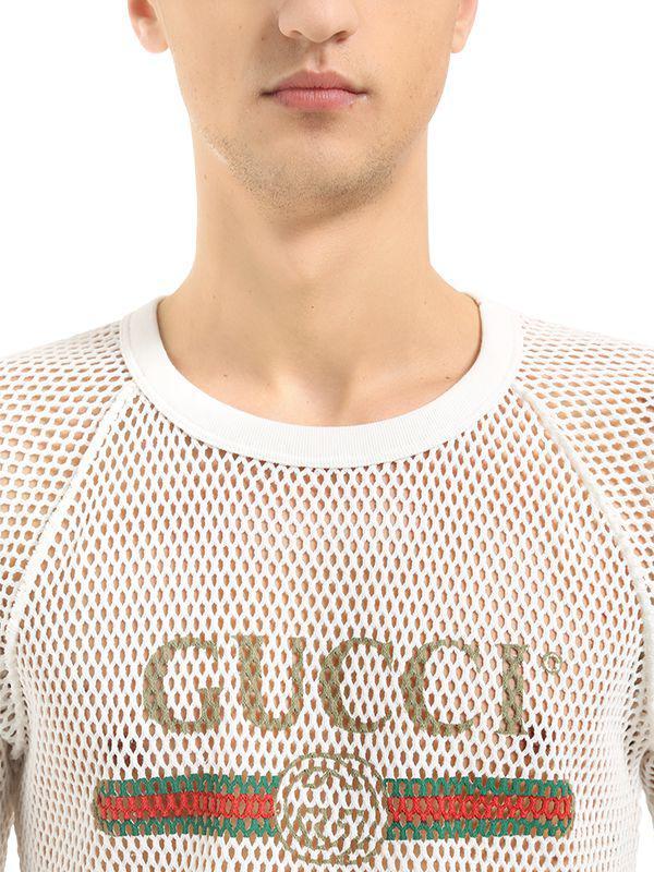 e7c346b7c Gucci Logo Printed Cotton Mesh T-shirt in White for Men - Lyst