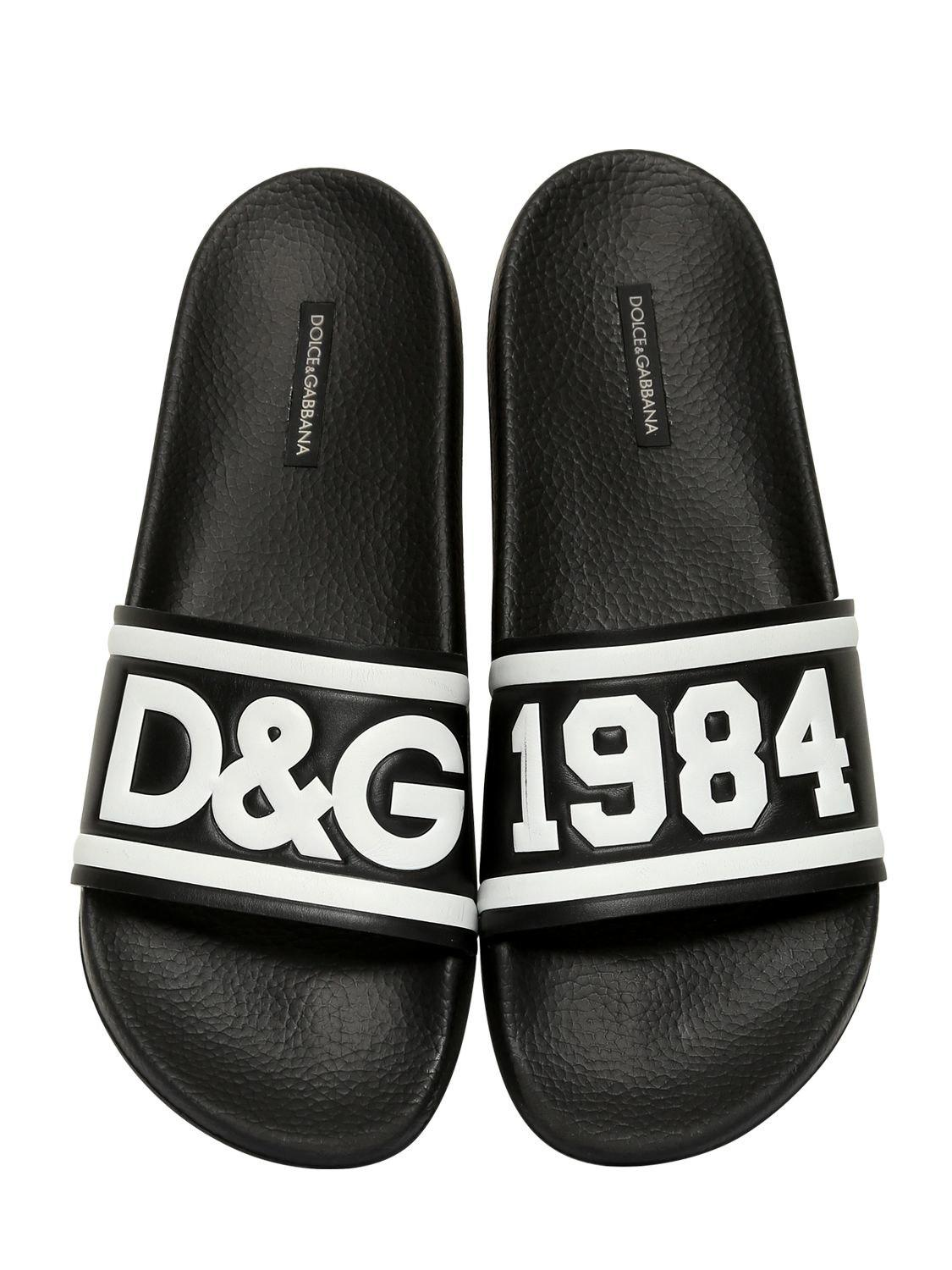 Dolce & GabbanaD&G RUBBERIZED LEATHER SLIDE SANDALS ATYgD
