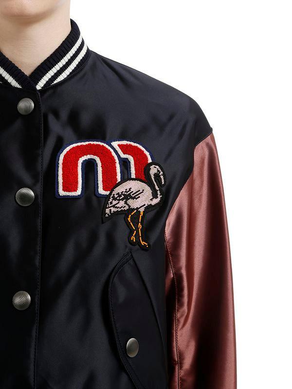486adfbbd Miu Miu Flamingo Patch Nylon Bomber Jacket in Blue - Lyst