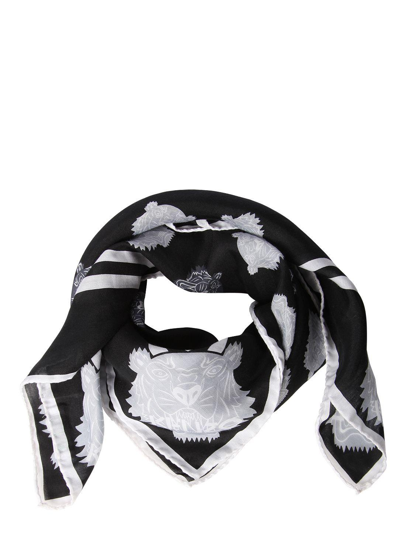 ef4f22149ff Lyst - Foulard Carré En Soie Et Coton Imprimé Tigre KENZO en coloris ...