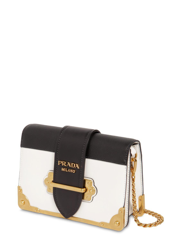a2cc74bb7b69 Prada - Black Small Cahier Leather Shoulder Bag - Lyst. View fullscreen