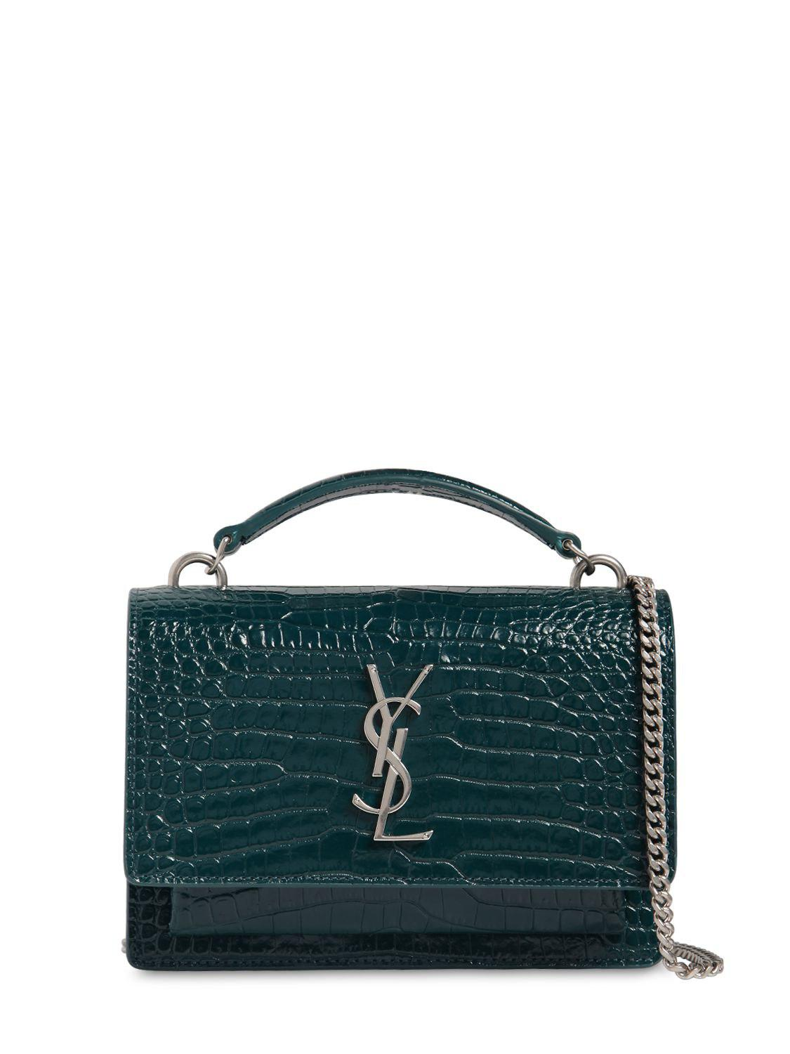 d76569b23a4 Saint Laurent Small Sunset Croc Embossed Leather Bag in Green - Lyst