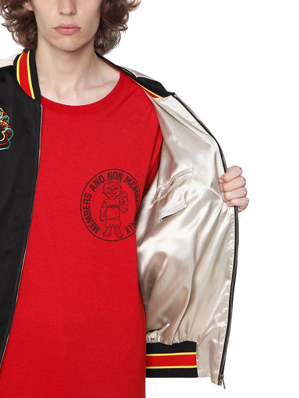 Stella McCartney Embroidered Techno Satin Bomber Jacket in Black for Men