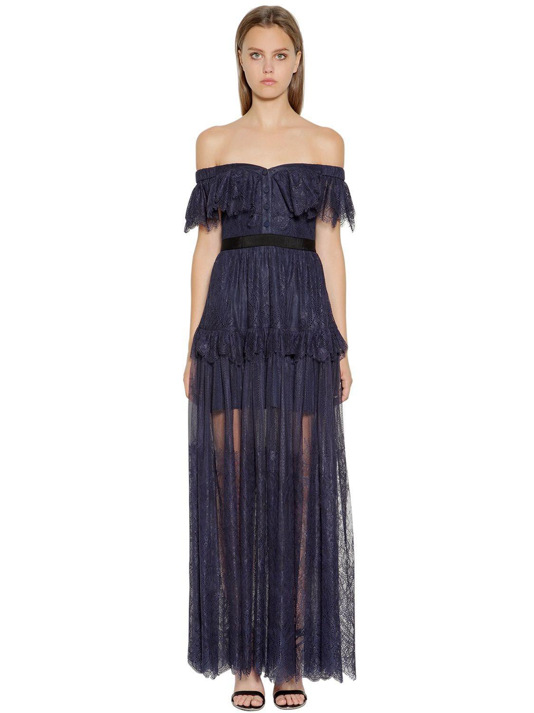 7100e7ef2 Self-Portrait Off The Shoulder Fine Lace Long Dress in Blue - Lyst