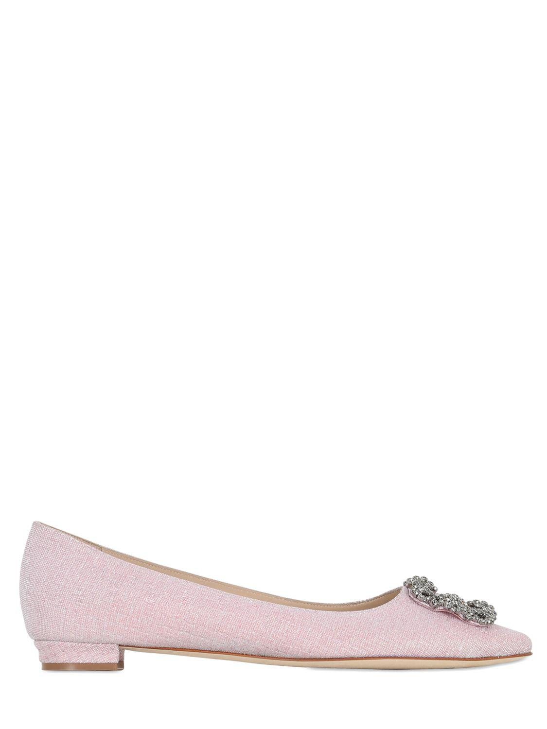 Exclusive Sale Manolo Blahnik 10mm Hangisi Notturno Lurex Flats Women Shoes Pink