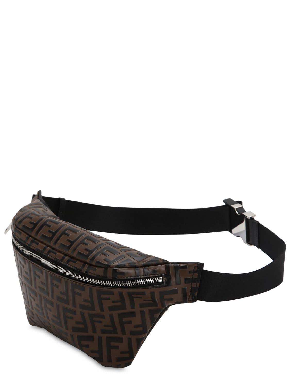 f8be8c7d0b4 Lyst - Fendi Logo Embossed Leather Belt Bag in Brown for Men