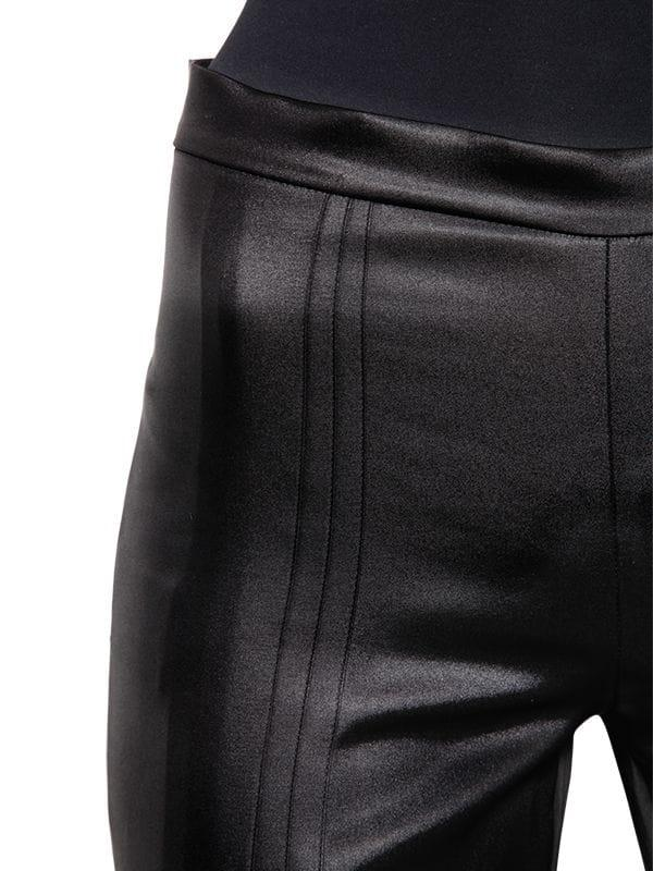 Marco De Vincenzo Pleated Satin Cropped Pants in Black