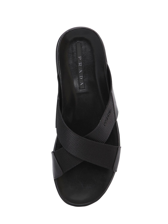 2bf950d130a1c8 Prada - Black Crisscrossed Nylon   Leather Sandals for Men - Lyst. View  fullscreen