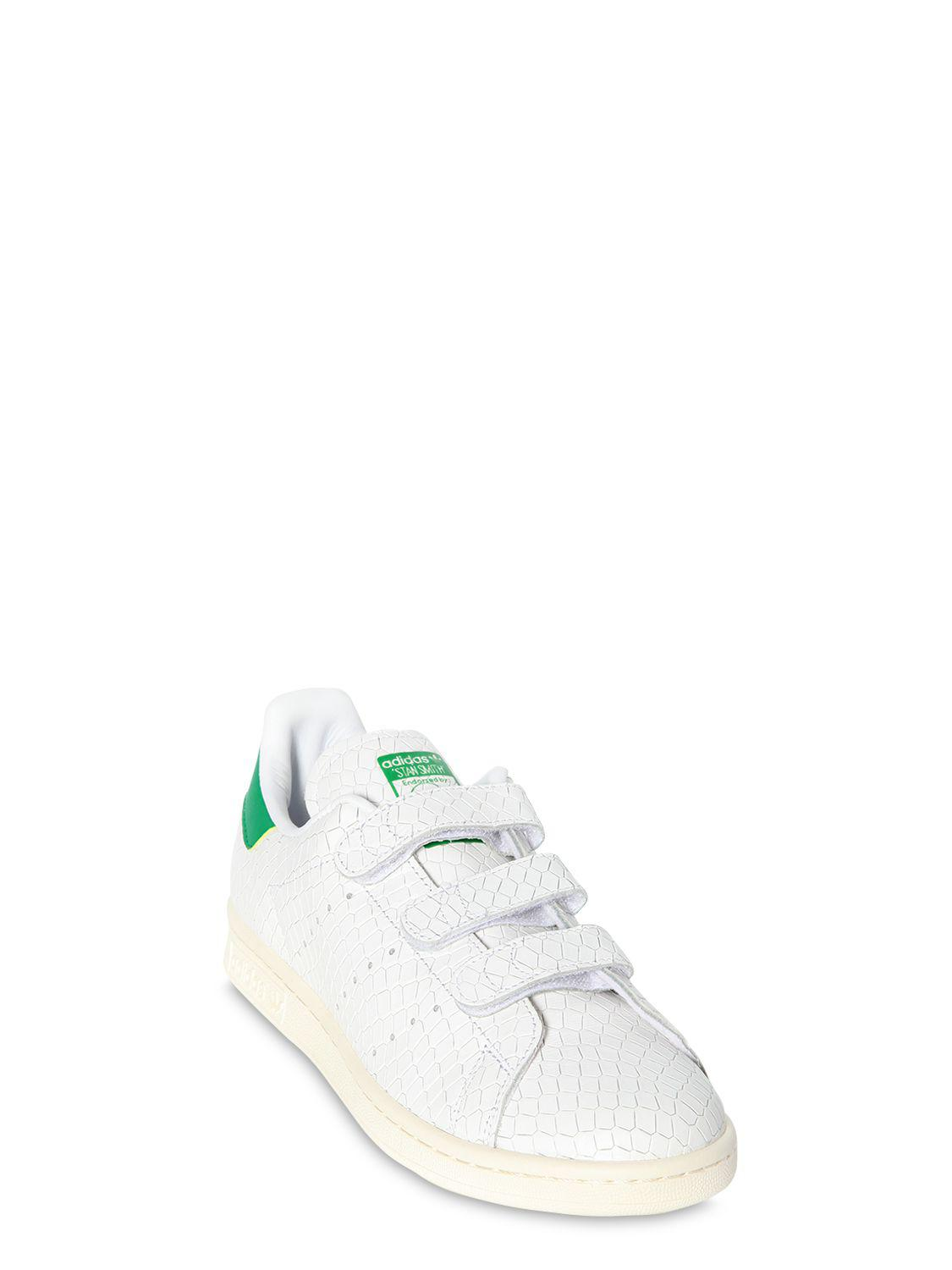 "adidas Originals Leather Sneakers ""stan Smith"" In Pelle Stampata A Rilievo in White/Green (Green)"