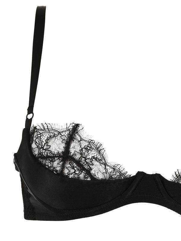 c22107d453 Lyst - Kiki de Montparnasse Satin   Lace Sensual Quarter Cup Bra in Black -  Save 5%
