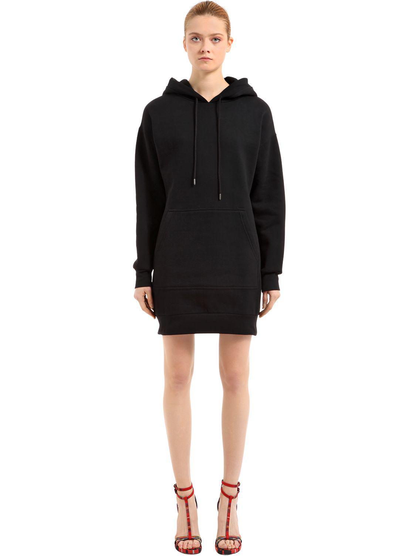 Burberry Oversized Hooded Cotton Sweatshirt Dress In Black