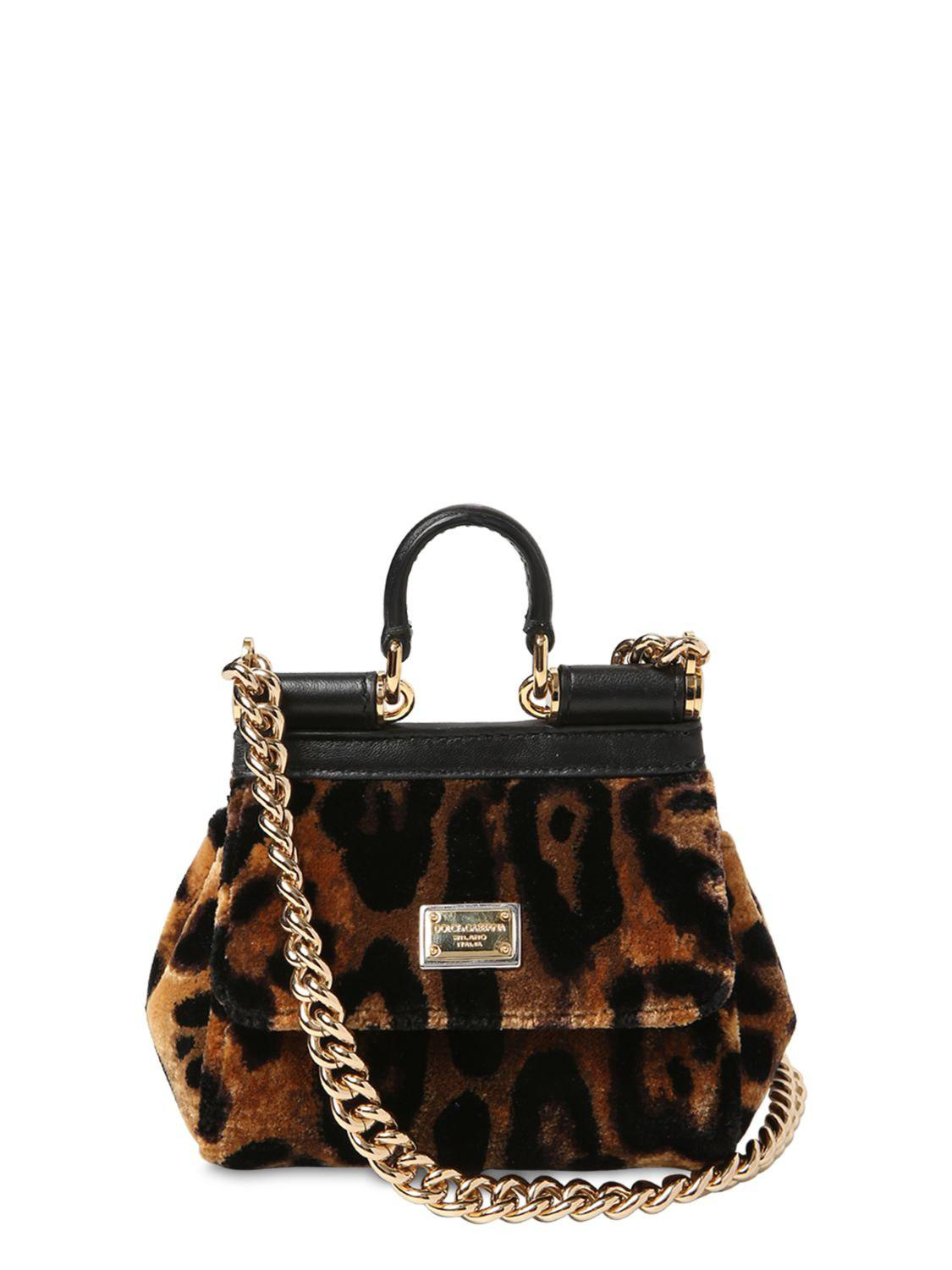 Lyst - Dolce   Gabbana Micro Sicily Leopard Print Velvet Bag in Black 6a558aa268a70