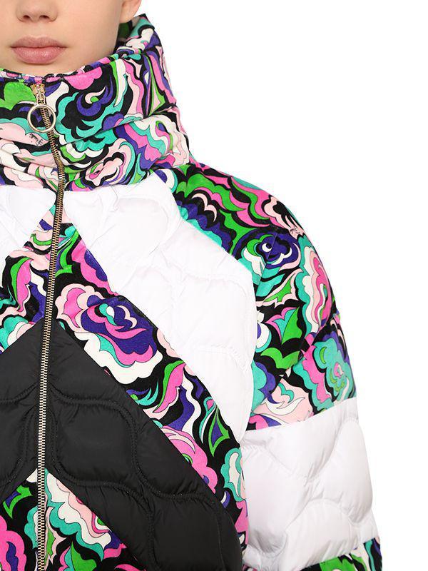 242e2ceed5bc Emilio Pucci Floral Print Nylon   Velvet Down Jacket - Lyst