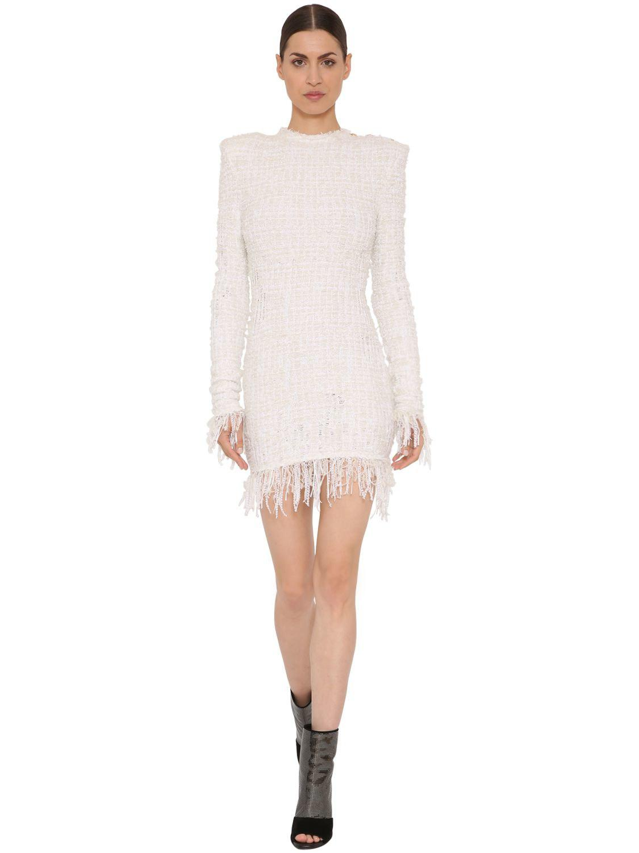407113e3 Lyst - Balmain Fringed Tweed Dress in White