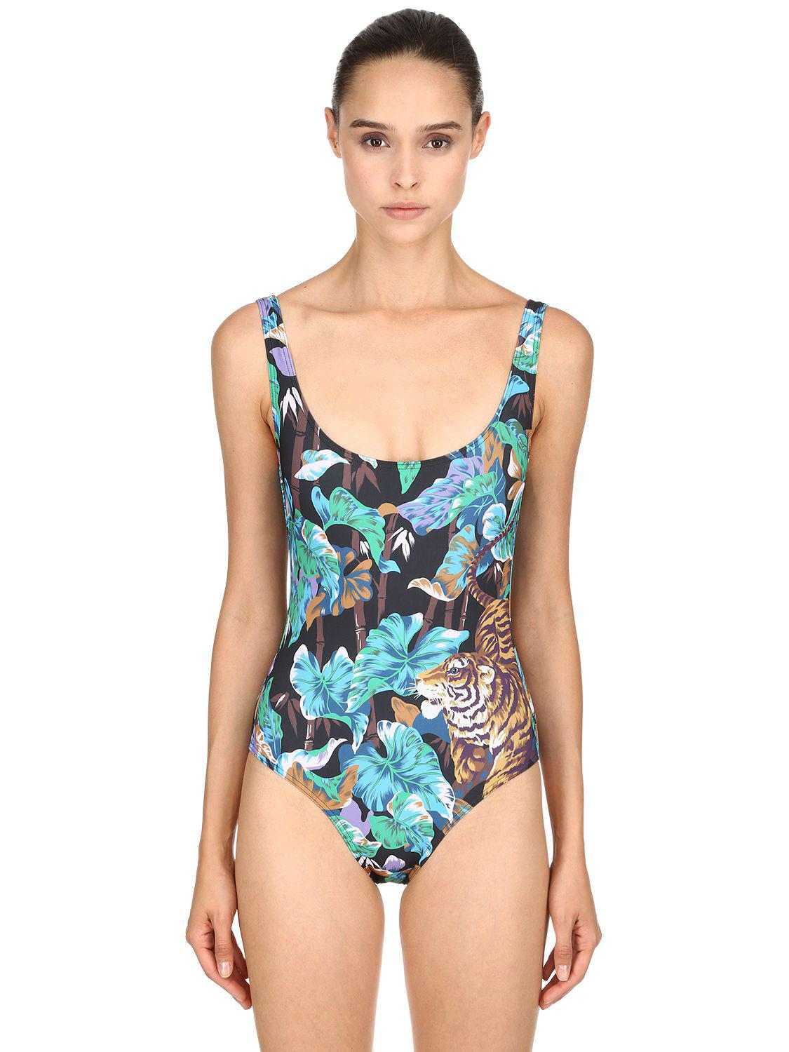 6349fc8a4d Lyst - KENZO Bamboo Tiger Printed One Piece Swimsuit in Blue