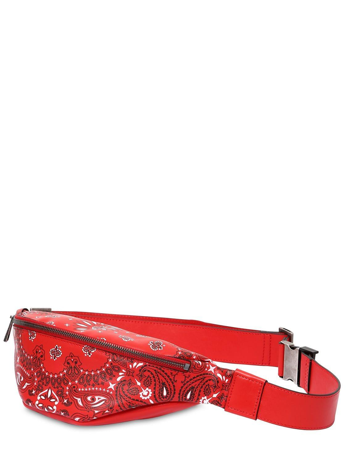 cc1a0b0414 Men's Red Bandana Print Leather Belt Bag