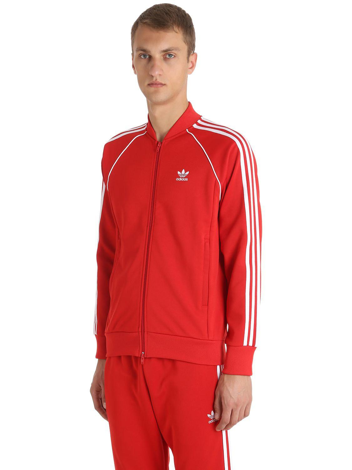adidas Originals Sst Shiny Tricot Track Jacket in Red for ...