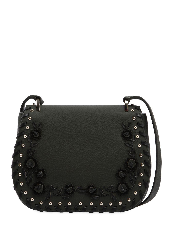 31d6cb98f7bb Kate Spade Tressa Floral Appliqués Leather Bag in Black - Lyst