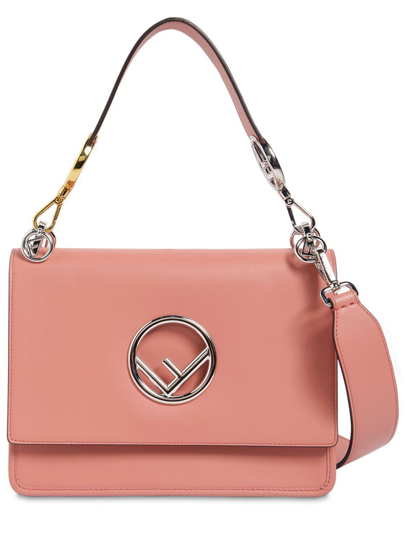 Fendi Medium Kan I Logo Leather Bag in Pink - Lyst 9e0a48de1f891