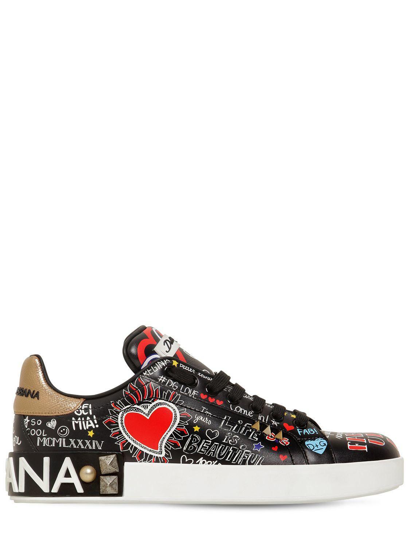 27a0cff6d9 Dolce & Gabbana 20mm Portofino Graffiti Leather Sneakers in Black - Lyst