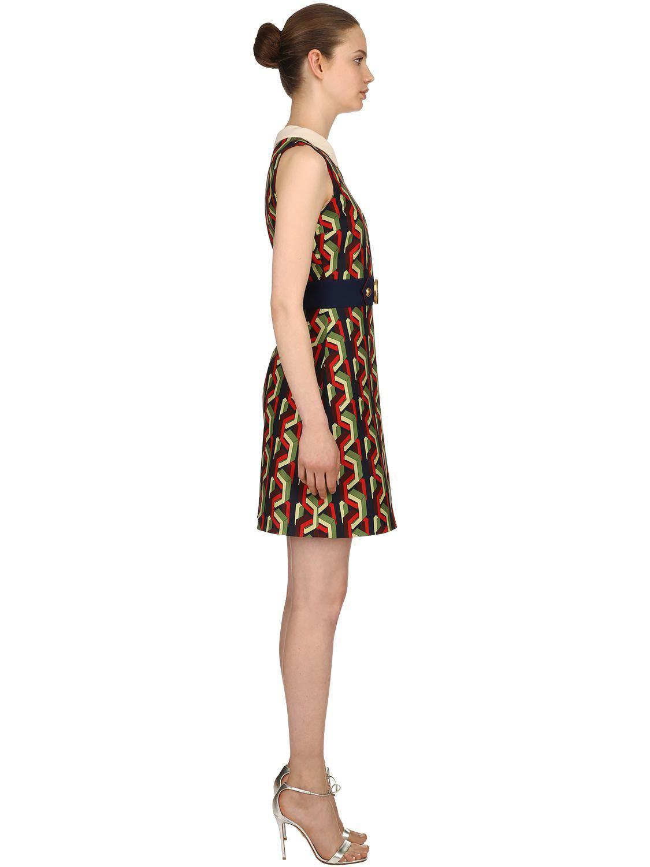 Robe en cady de soie imprimé chaîne en tissu en Soie Gucci - Lyst