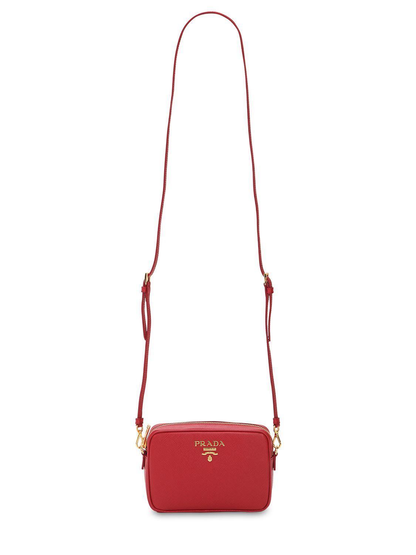 9143ec3cf94b Prada - Red Saffiano Lux Leather Camera Bag - Lyst. View fullscreen